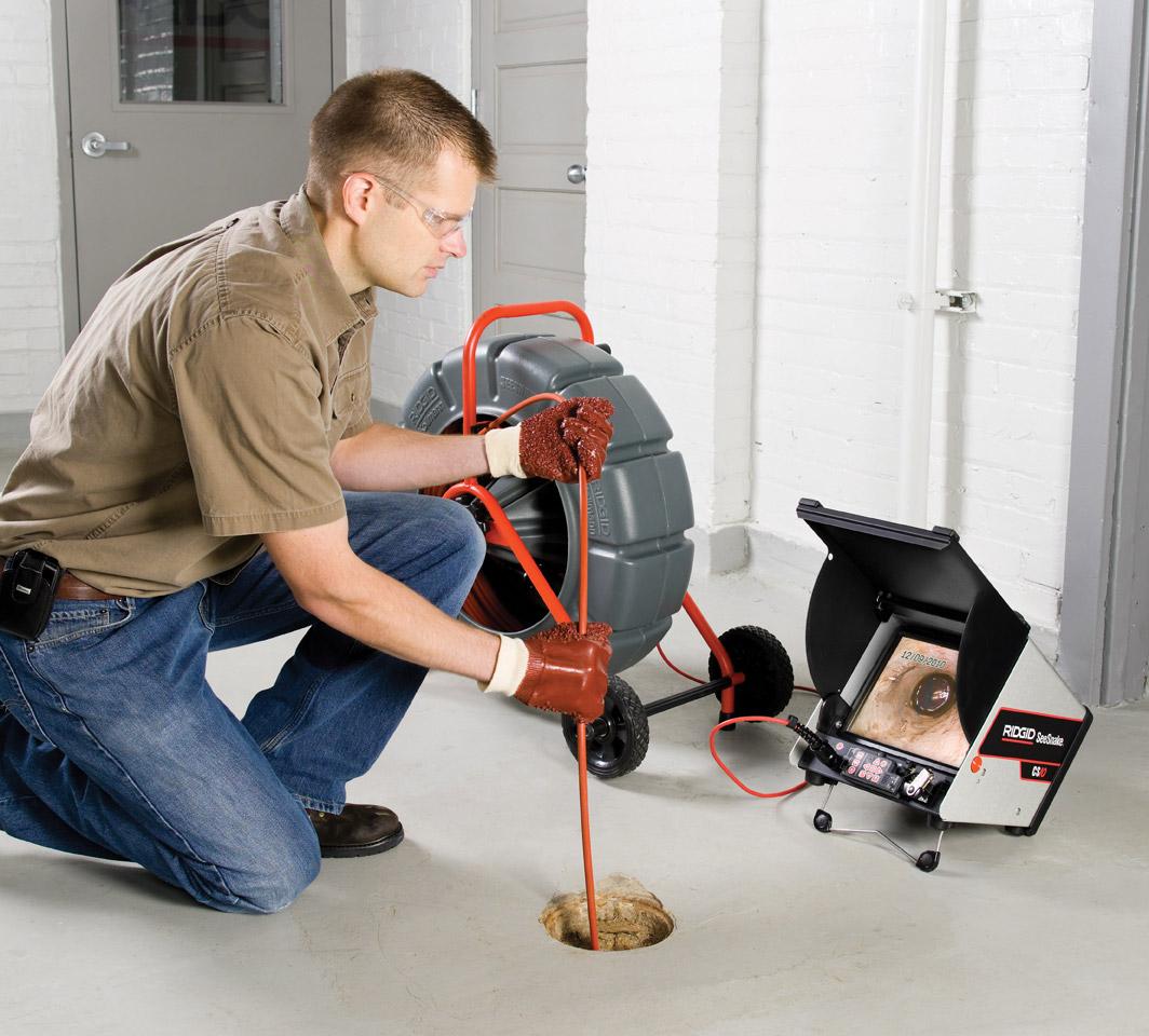 inspection canalisation avec caméra et visualisation sur moniteur