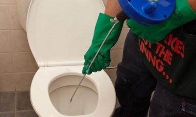 déboucheur débouche un WC avec un furet